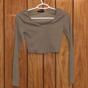 Olive green crop top long sleeve